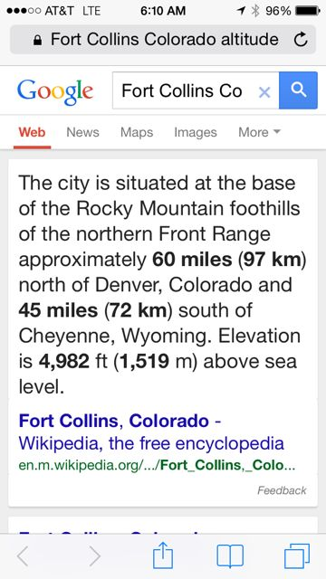 Fort Collins altitude stats