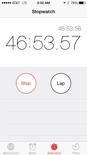 iPhone Stopwatch reading