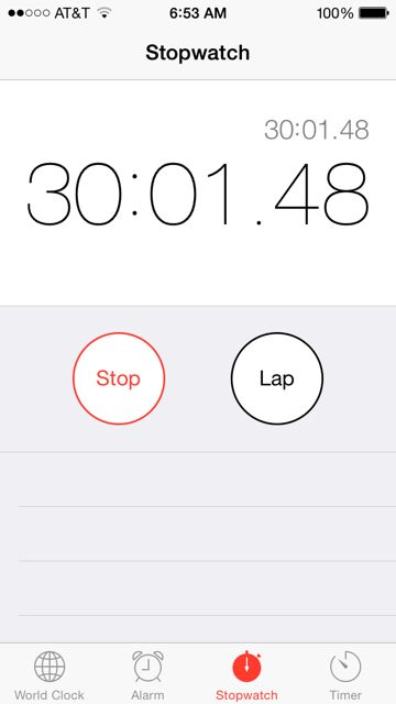 Stopwatch screen shot from iPhone