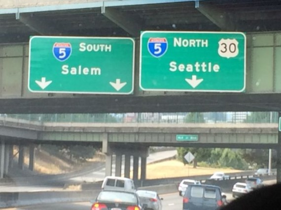 Interstate 5 directional sign in Portland