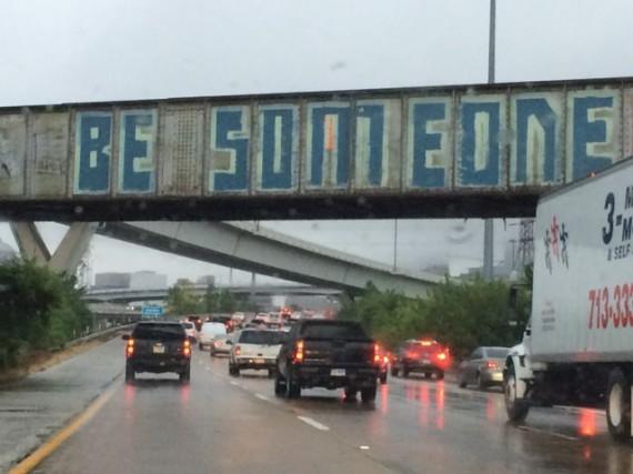 Texas Interstate overpass graffiti