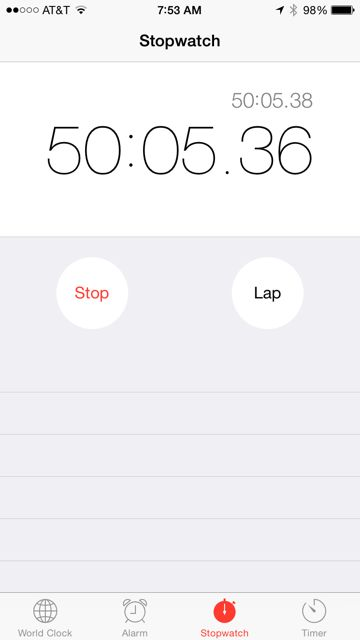 iPhone run time screen shot