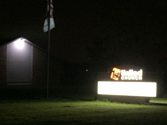 Church sign at night