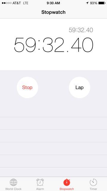 iPhone stopwatch