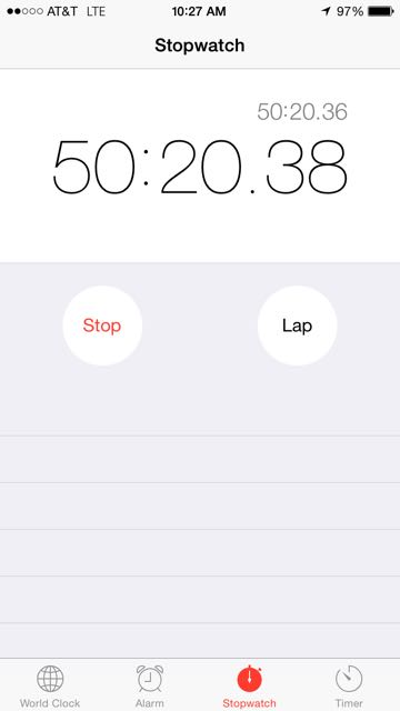 iPhone stopwatch screen shot