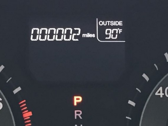 Brand new car odometer
