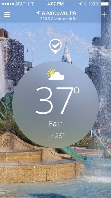 Weather app on iPhone