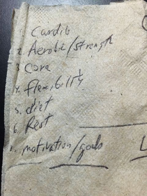 World class wellness tips on napkin
