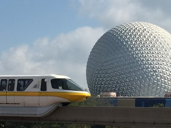 Epcot's Spaceship Earth and Monorail Yellow