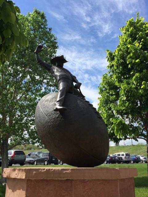 Giant bronze football sculpture at Mile High Stadium