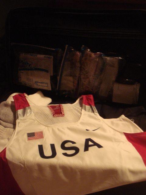 Masters athlete packed suitcase