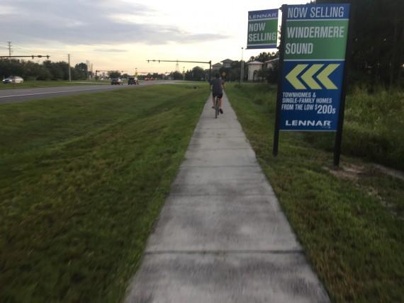 Bicycle rifding to school near Disney World