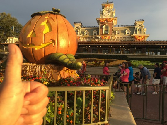 Disney's Magic Kingdom entrance at Halloween