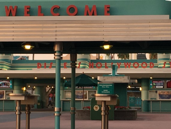 Disney's Hollywood Studios entrance at dawn.
