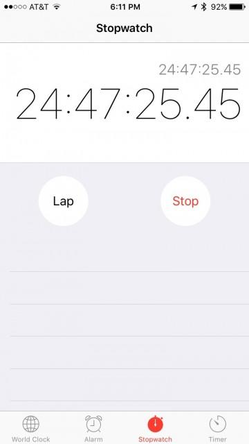 iPhone stopwatch screen shot