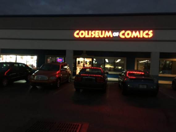 Coliseum of Comics exterior at night