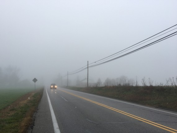 Lonesome country road in the fog