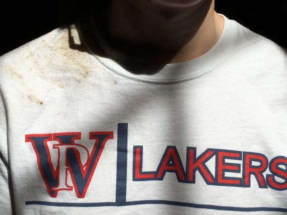 Shot putter's dirty t-shirt