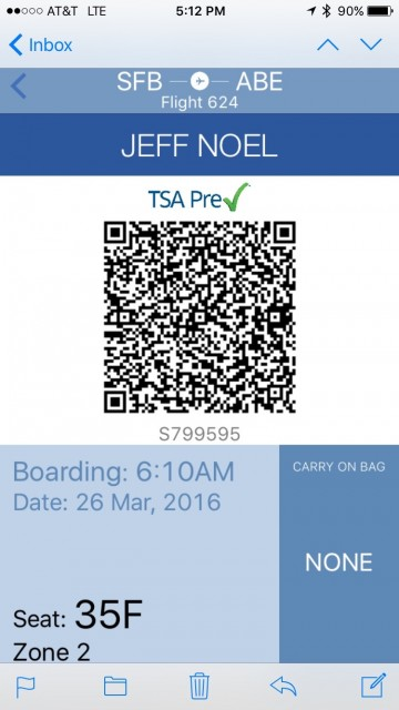 Allegiant boarding pass