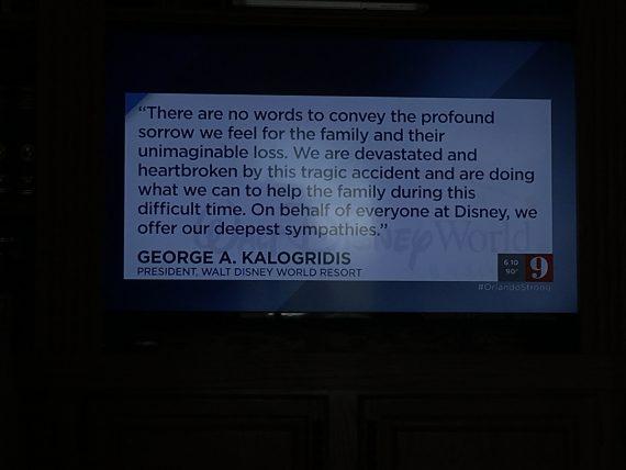 Official Walt Disney World statement