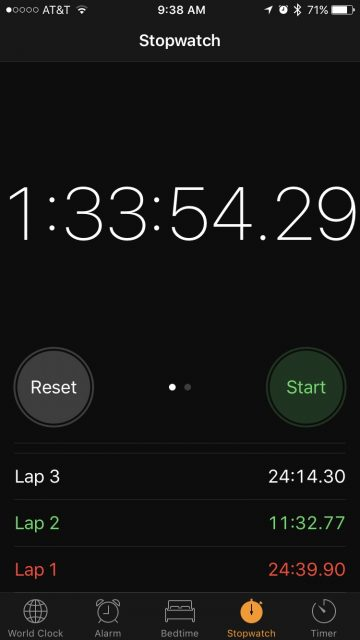 Stopwatch on iPhone