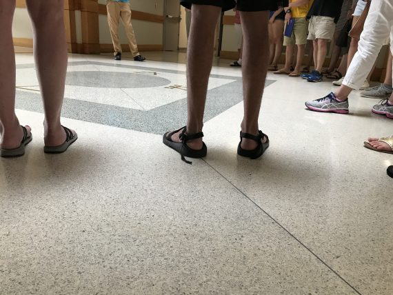 Photo of a group of people's feet