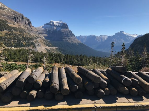 Logan Pass parking lot getting winterized