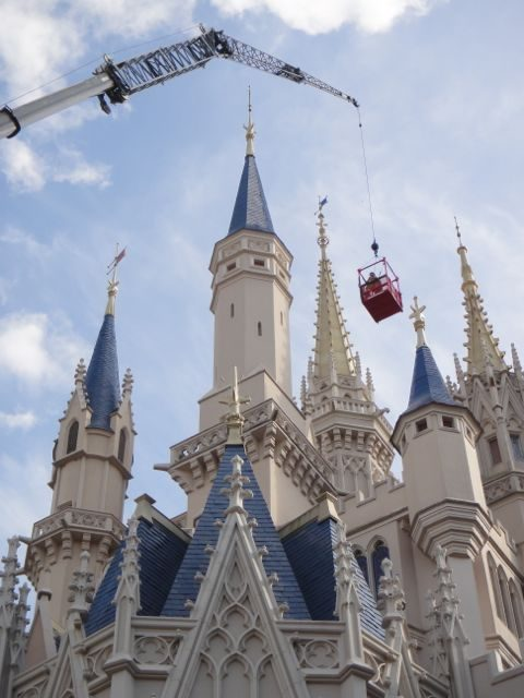 Cinderella Castle with crane