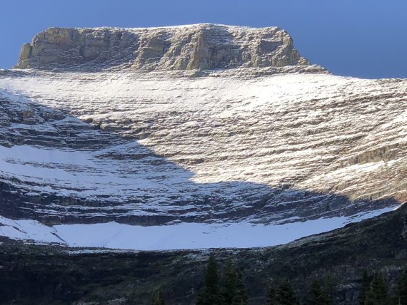 Glacier in August snow