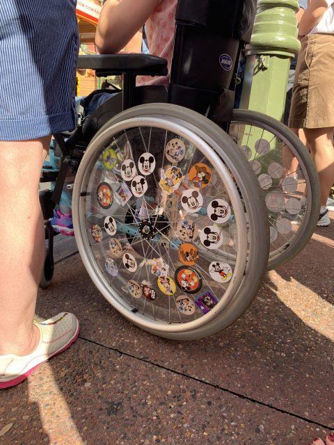 child wheelchair with Disney stickers