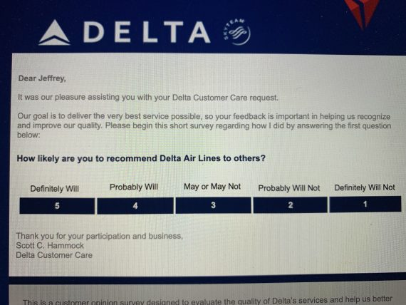 Delta Customer survey