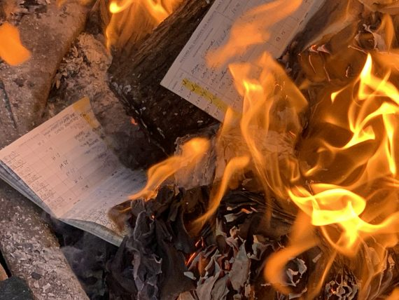 burning paper files
