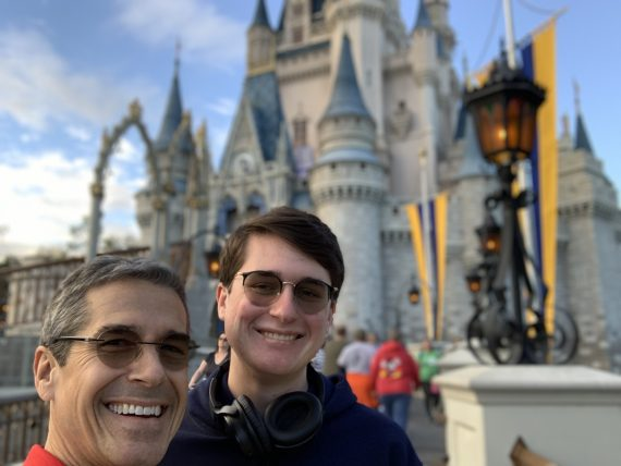 father and son at Cinderella Castle