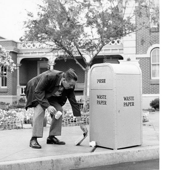 Walt Disney picking up trash
