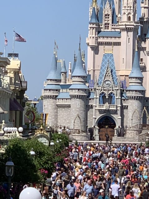 Cinderella Castle on busy day