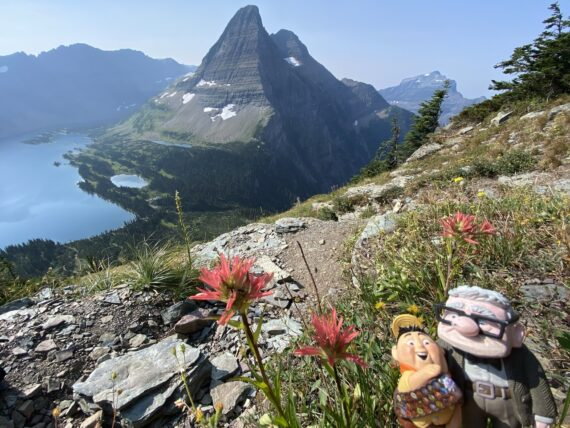 Mountain and Pixar character figurine