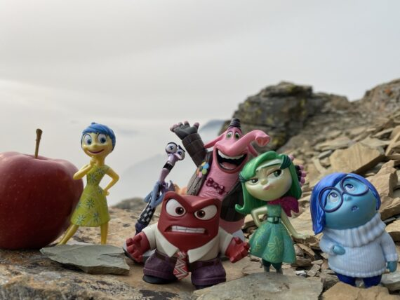 Disney Pixar Inside Out toy characters on mountain with haze