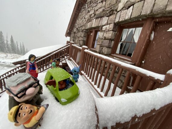 Pixar Onward toy car and other Disney toy characters in snow