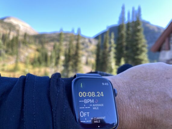 Apple Watch display from Mountain hike