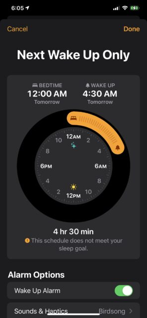 Apple iPhone alarm clock screen