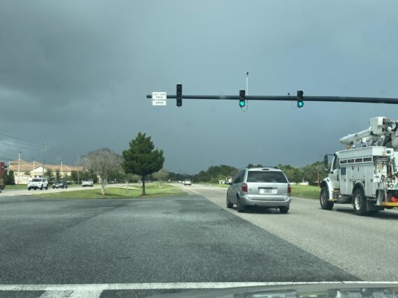 Highway and storm clouds