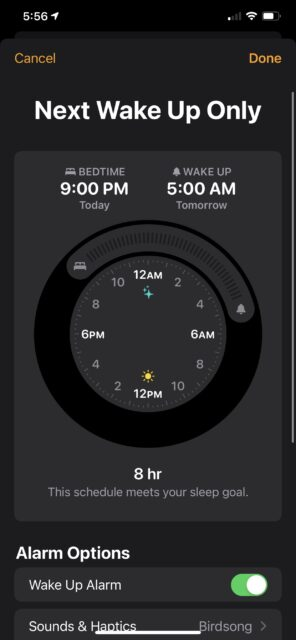 Apple sleep wake up alarm