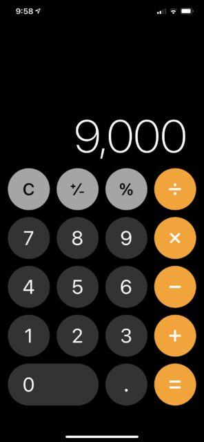 iPhone calculator image with 9,000