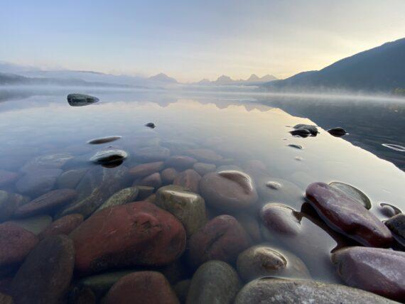 Stones at mountain lakeshore