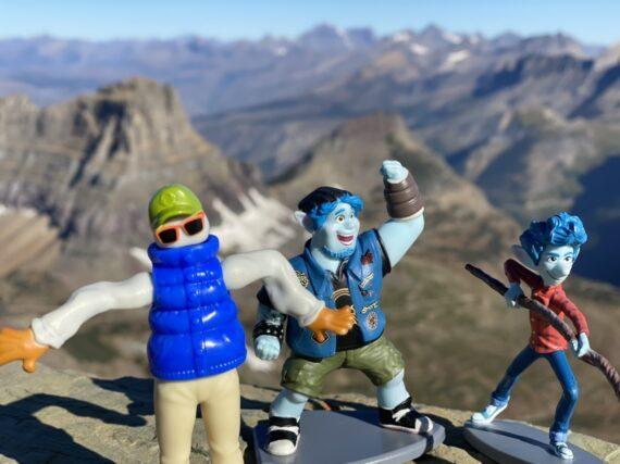 Pixar toys on mountain top