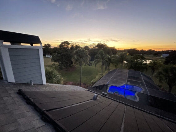 Backyard view from a two-story roof