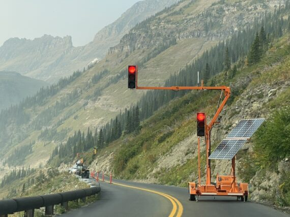 Mountain road temporary traffic light