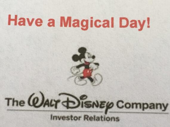 Disney investor relations message