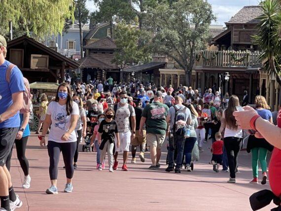 Magic Kingdom Guests walking through Frontierland