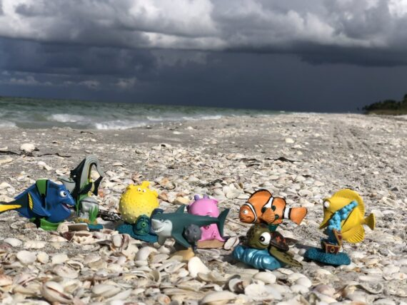 Toy Finding Nemo figurines at the beach